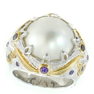 Michael Valitutti Palladium Silver Mabe White Pearl & African Amethyst Ring