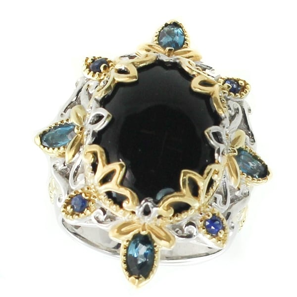 Michael Valitutti Palladium Silver Black Onyx, London Blue Topaz & Blue Sapphire Ring