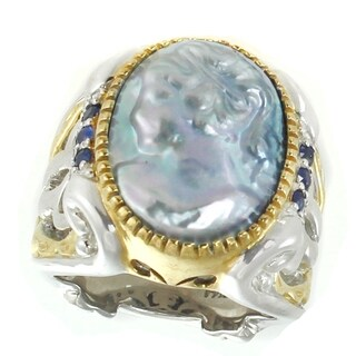 Michael Valitutti Palladium Silver Lady Peacock Mabe Cameo & Blue Sapphire Ring