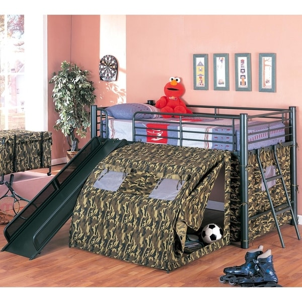 Camouflage Themed Glossy Green Loft Bed Size - Twin