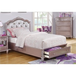 Caroline Metallic Lilac Storage Bed