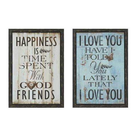 Happiness Country 2-piece Wall Art Set - Black/Blue/White