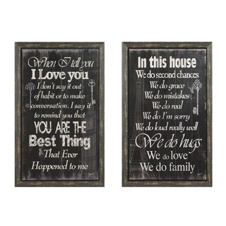 Cozy Sentiment Country 2-piece Wall Art Set - Black/White