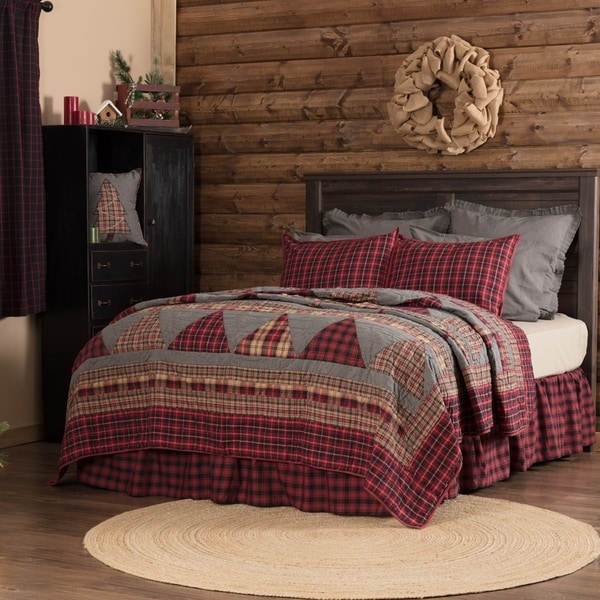 Red Rustic Bedding VHC Andes Quilt Cotton Patchwork Chambray