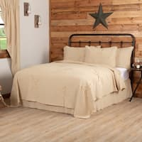 Holiday Decor Bedding Veranda Burlap Creme Star Coverlet Cotton Star Distressed Appearance Cotton Burlap