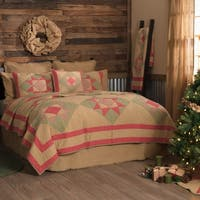 VHC Natural Tan Holiday Primitive Bedding Dolly Star Quilt