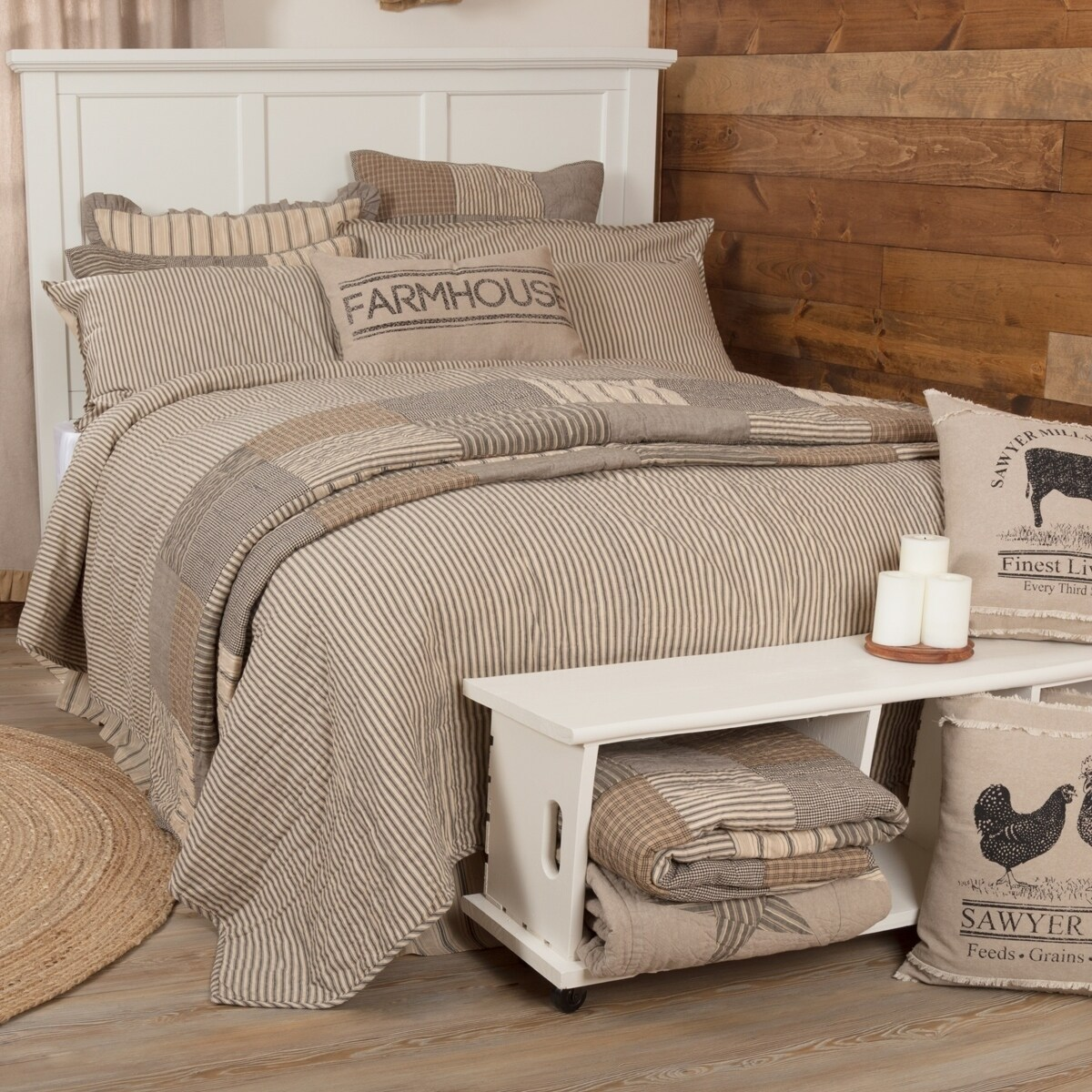 Red Country VHC Brands Sawyer Mill Farmhouse Bedding Ticking Cotton Pre-Washed Striped California King Coverlet