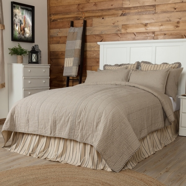 VHC Farmhouse French Country Bedding Sawyer Mill Ticking Stripe Striped  Quilted Coverlet