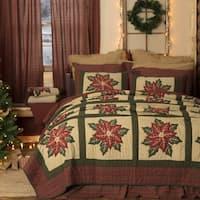 VHC Khaki Tan Holiday Bedding National Quilt Museum Poinsettia Block Quilt