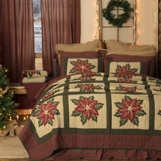 VHC Khaki Tan Holiday Bedding National Quilt Museum Poinsettia Block Quilt