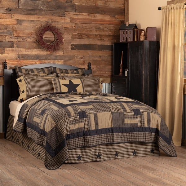 Black Primitive Bedding VHC Black Check Star Quilt Cotton Star Appliqued