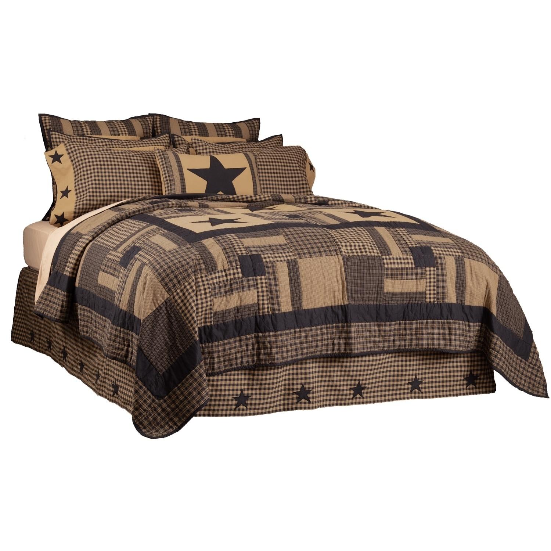 VHC Primitive Bed Skirt Black Check Star Bedding Black Cotton Star