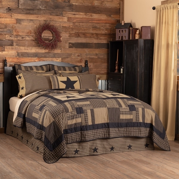 VHC Raven Black Primitive Bedding Check Star Quilt