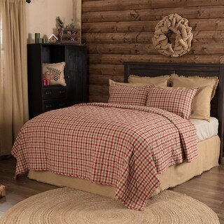 VHC Natural Tan Holiday Rustic & Lodge Bedding Jonathan Plaid Quilt