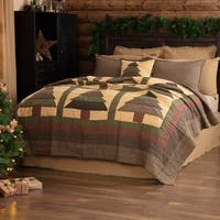 Green Rustic Bedding VHC Sequoia Quilt Cotton Nature Print Patchwork
