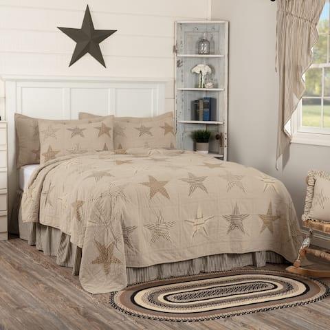 Tan Farmhouse Bedding VHC Sawyer Mill Star Quilt Cotton Star Patchwork Chambray