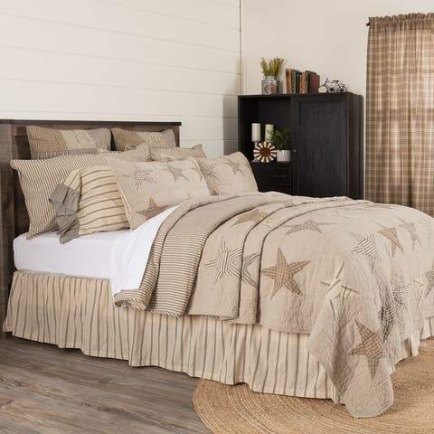 VHC Khaki Tan Farmhouse Americana Bedding Sawyer Mill Star Independence Day/4th of July Quilt