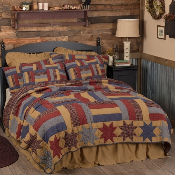 VHC Golden Tan Primitive Americana Bedding National Quilt Museum Kindred Stars and Bars Star Quilt