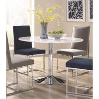 Strick & Bolton Kossoy White Marble and Chrome Metal Dining Table