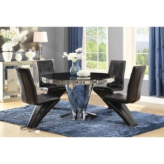"Barzini Dining Contemporary Black Pedestal Dining Table - 30"" x 51.25"""