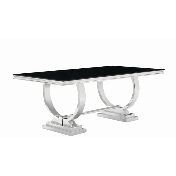 Antoine Hollywood Glam Silver Dining Table - Black