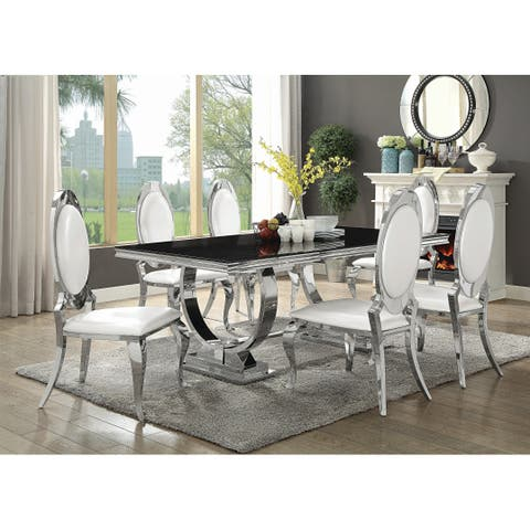 """Antoine Hollywood Glam Silver Dining Table - 18.50"""" x 21.25"""" x 41.25"""""""