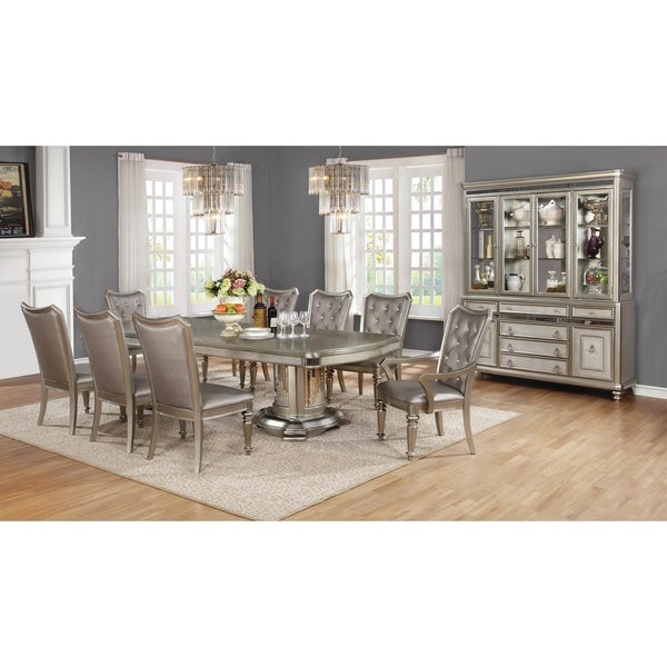 Danette Metallic Platinum Dining Table Silver