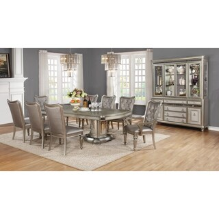 Danette Metallic Platinum Dining Table - Silver