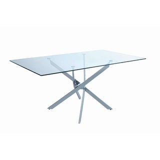 Nathan Contemporary Chrome Dining Table - Silver