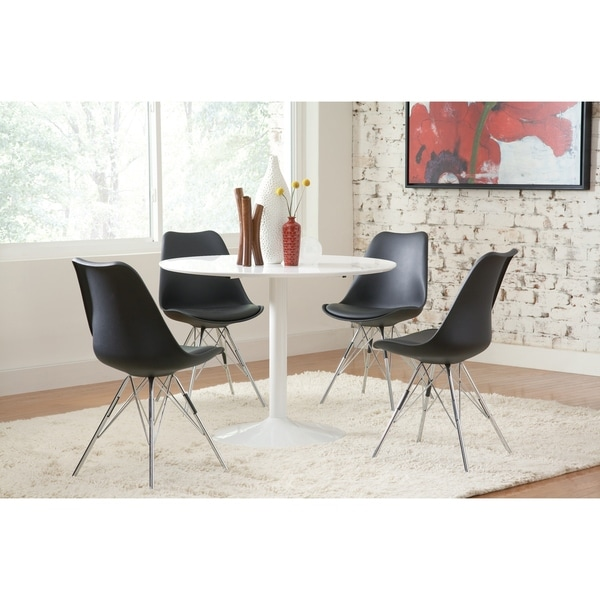shop lowry mid century modern white round dining table on sale free shipping today. Black Bedroom Furniture Sets. Home Design Ideas