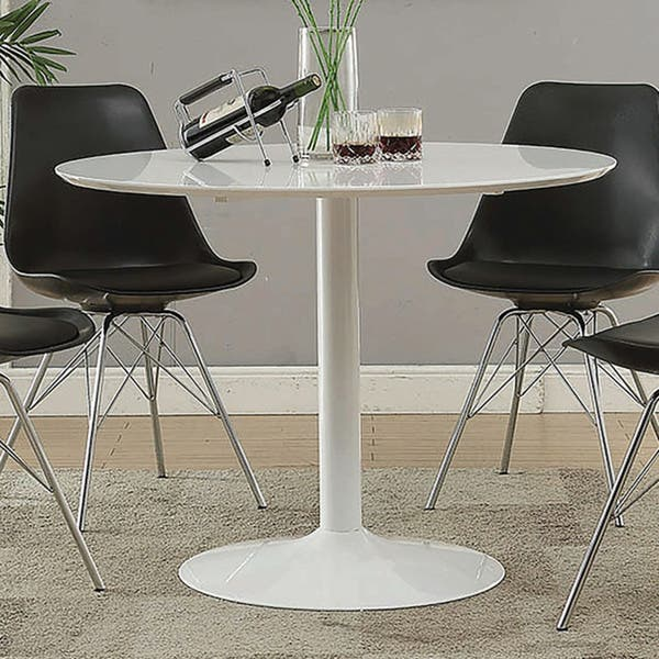 Lowry Mid Century Modern White Round Dining Table