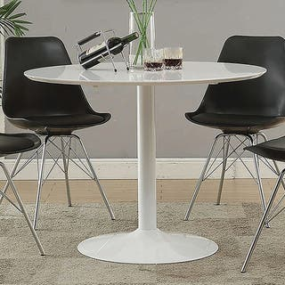 "Lowry Mid-century Modern White Round Dining Table - 29.50"" x 40"""