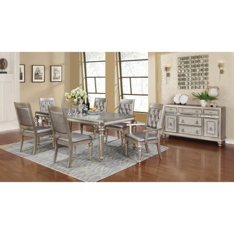 Rectangular Dining Table with Leaf Metallic Platinum