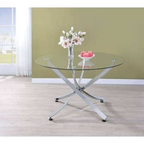 "Walsh Contemporary Chrome Dining Table - 29.50"" x 46"""