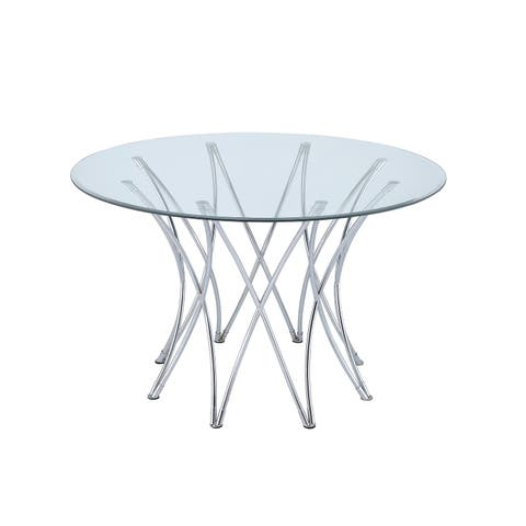 Cabianca Contemporary Chrome Table Base ( Base Only) - Silver