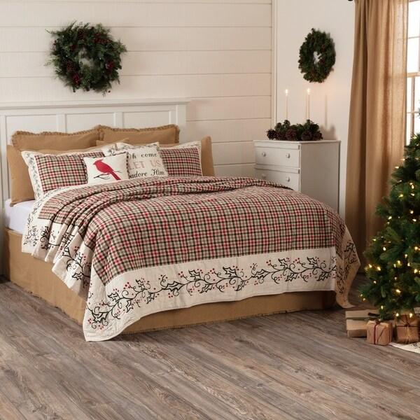 White Farmhouse Bedding VHC Hollis Quilt Cotton Plaid Stenciled Flax
