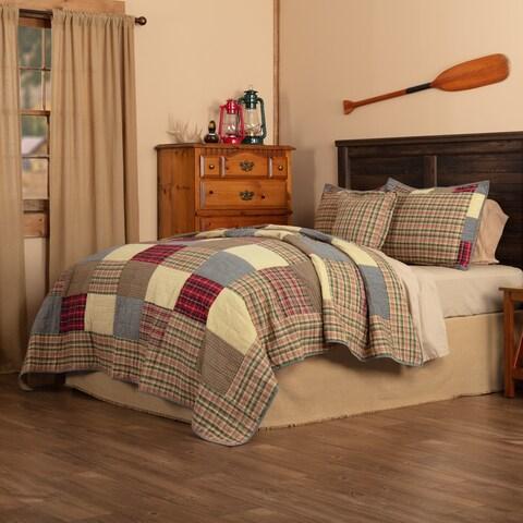 VHC Khaki Tan Bedding Rustic Plaid Patch Quilt Sham Pillow Cover Set