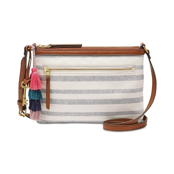 7cab087081d Shop Fossil Fiona Printed Small Fabric Crossbody Grey Stripe - Free ...
