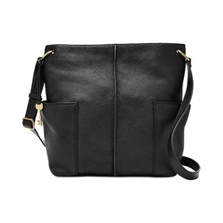 Fossil Lane North South Leather Crossbody Black