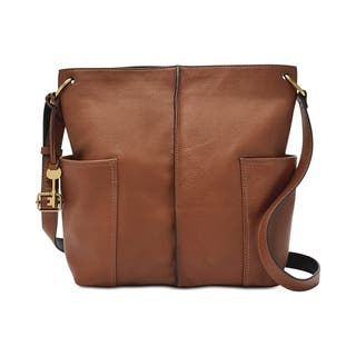 Fossil Lane North South Leather Crossbody Brown