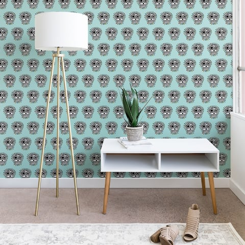 Andi Bird Sugar Skull Fun Aqua Wallpaper