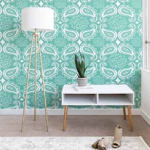 Heather Dutton Plush Paisley SeaSpray Wallpaper