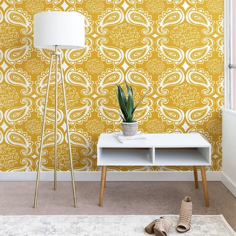 Heather Dutton Plush Paisley Goldenrod Wallpaper