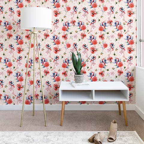 Marta Barragan Camarasa Flowery American Flamingos Wallpaper
