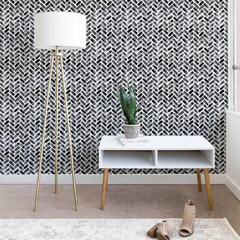 Little Arrow Design Co Arcadia Herringbone in Black Wallpaper