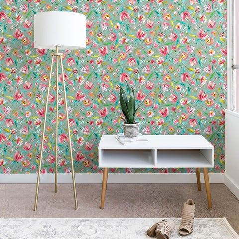 Ninola Design Green Peonies Festival Floral Wallpaper