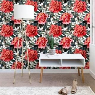 Marta Barragan Camarasa Big Red Watercolor Flowers Wallpaper