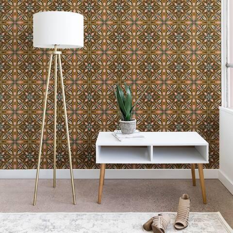 Pimlada Phuapradit Floral tile in yellow ochre Wallpaper