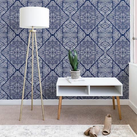 Marta Barragan Camarasa Indigo of Geometric Shapes of Watercolor Wallpaper