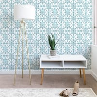 Schatzi Brown Reeve Pattern Aqua Wallpaper